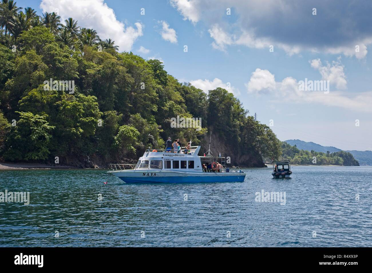 Dive boat, Lembeh Strait, North Sulawesi, Indonesia - Stock Image