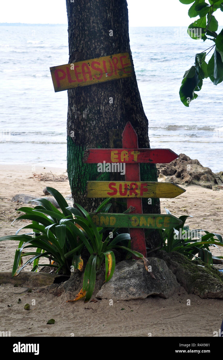 """""""Pleasure Eat Surf Dance"""" on signs on a tree on a beach Stock Photo"""