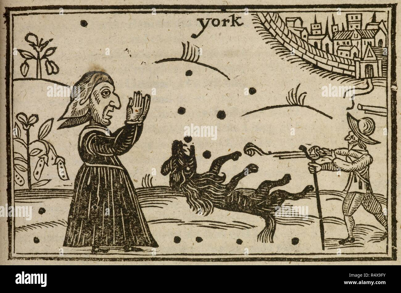 The killing of Prince Rupert's dog, named 'Boy', during the battle of Marston Moor, during the English civil war. A dog's elegy, or Rupert's tears for the late defeat at Marston-Moore ... London, July 27, 1644. A woodcut showing a witch, a cavalier and Prince Rupert's dog. Image taken from: A Dog's Elegy, or Rupert's tears for the late defeat at Marston-Moore, ... where his beloved dog, named Boy, was killed by a valliant souldier, who had skill in necromancy. Likewise the strange breed of this shagg'd cavalier ... with all his tricks and feats. Source: E.3.(17). Language: English. Stock Photo