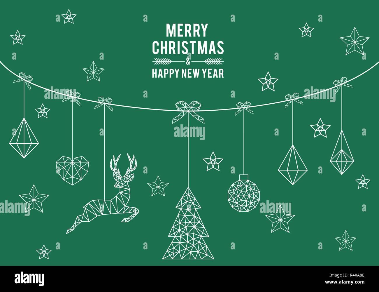 Geometric Christmas Card Simple Modern Line Art Set Of Vector