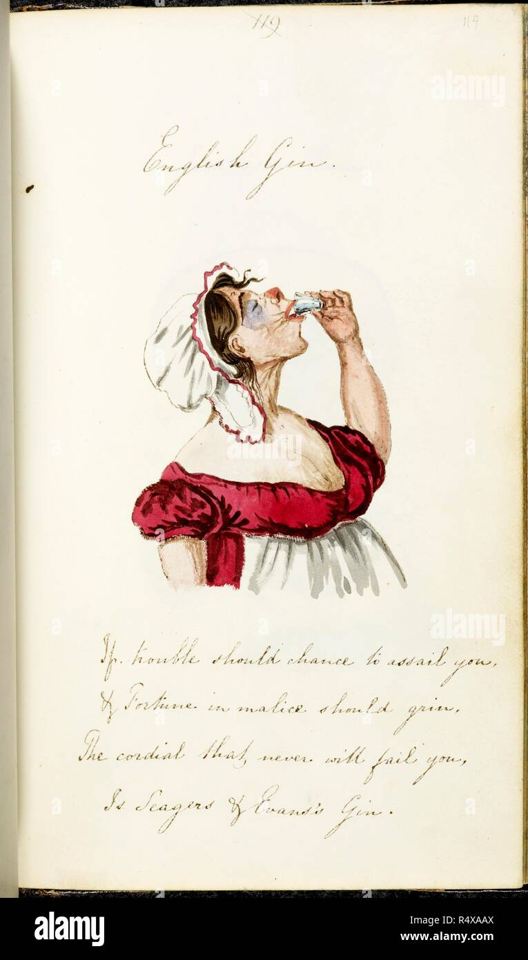 Watercolour Sketch A Woman Draining A Small Glass