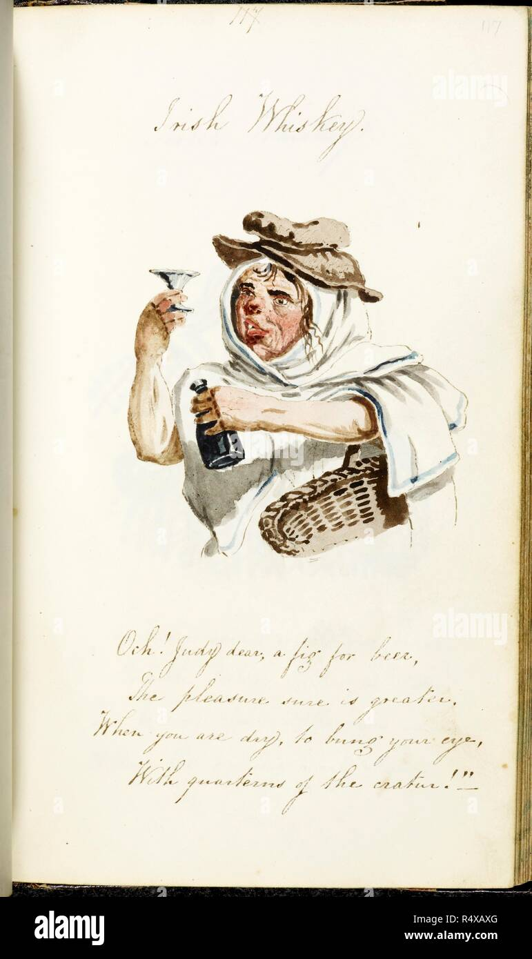 Irish Whiskey A Watercolour Of A Woman Holding A Bottle And