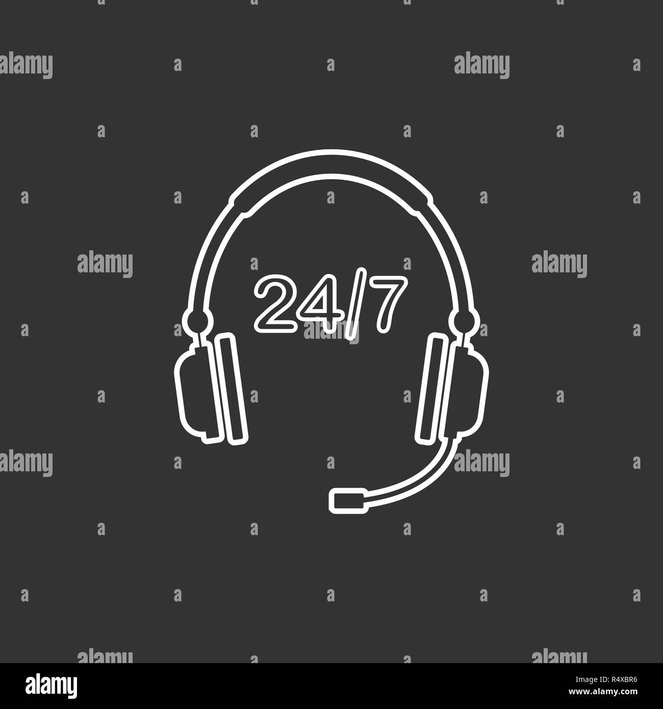 24 hour call center icon. Vector illustration, flat design. Stock Vector