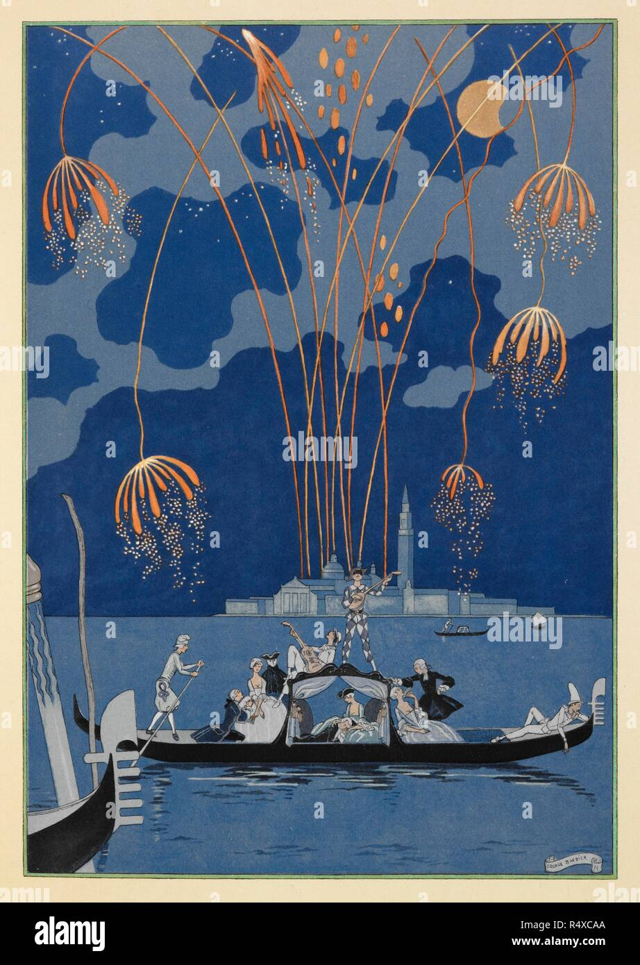 En bateau. Fireworks in Venice. People in a gondola. Fêtes galantes. [Poèmes]. Illustrations de George Barbier. Paris: H. Piazza, 1928. Fêtes Galantes is an album consisting of romantic prints of French life among the upper classes of the 19th century. Rich aristocrats of the French court used to play gallant scenes from the commedia dell' arte that were called Fetes Galantes. The prints accompany Paul Verlaine's poetry. Each album contains 20 lithograph prints with pochoir highlighting by George Barbier. Source: L.45/2847, before page 55. Language: French. - Stock Image