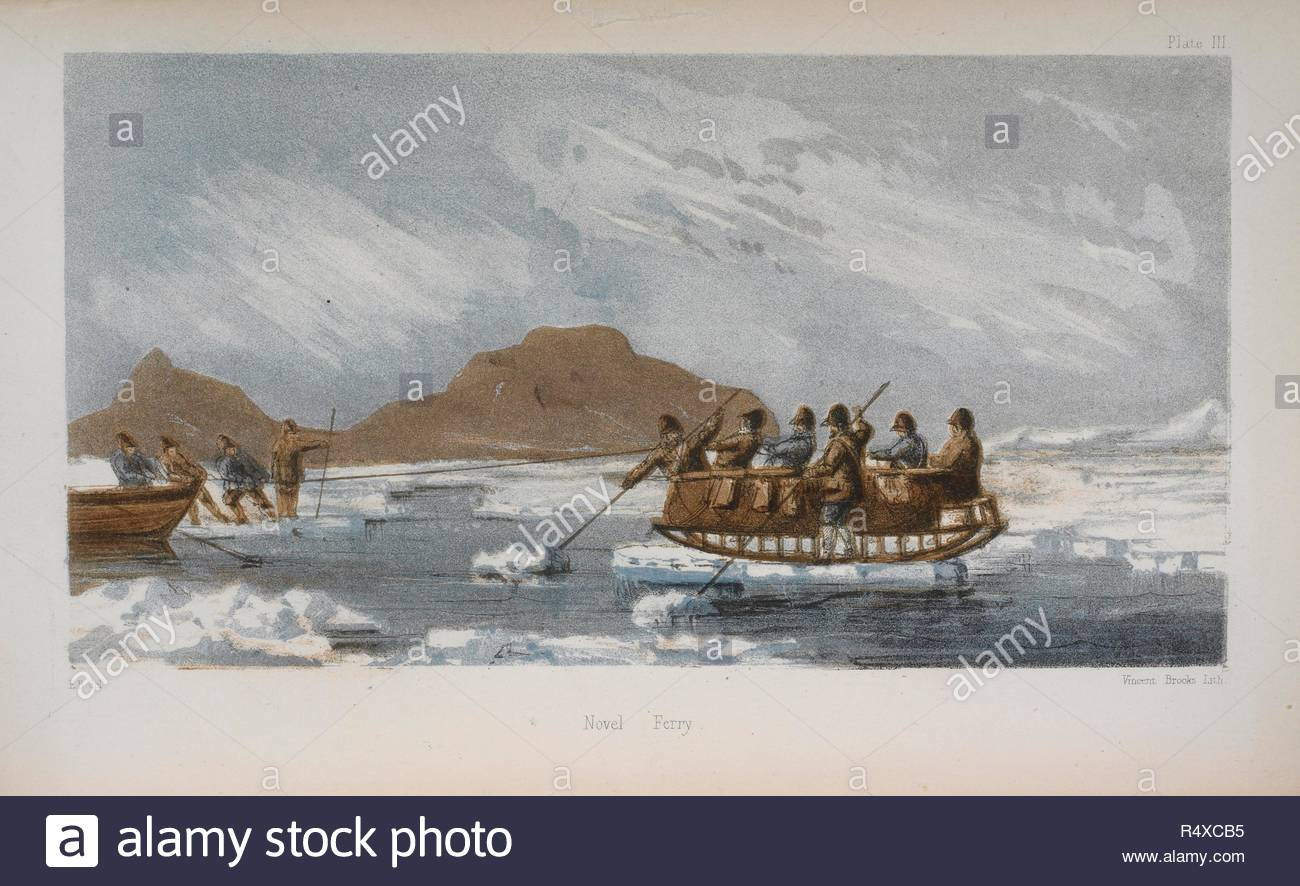 Novel Ferry. The Last of the Arctic Voyages being a narrative of the expedition in H.M.S. Assistance under the command of Captain Sir Edward Belcher ... in search of Sir John Franklin during the years 1852-53-54. Lovell Reeve: London, 1855. Source: 2370.g.2, volume 1, plate III. Author: Belcher, Sir Edward. Vincent Brooks. - Stock Image