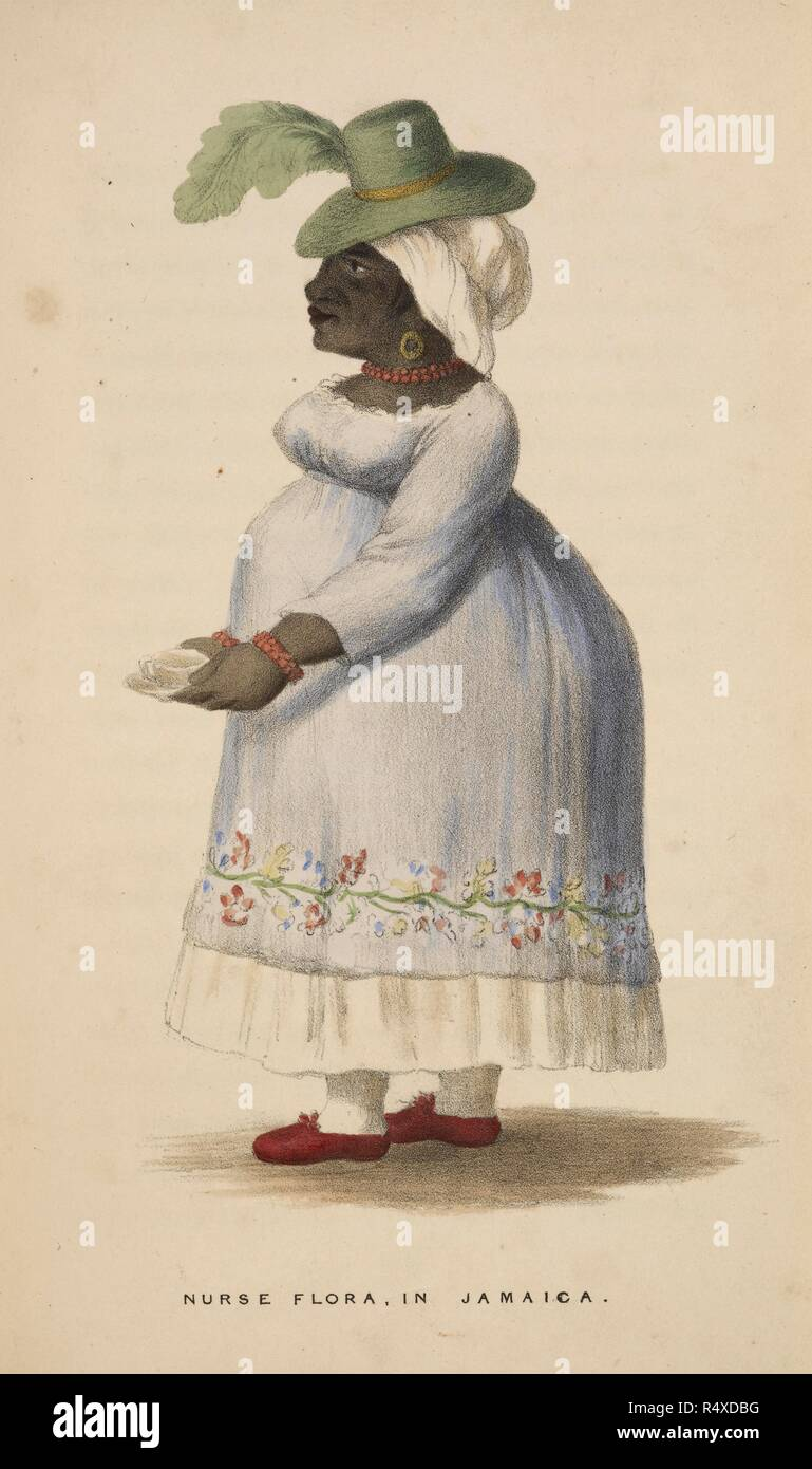 Nurse Flora in Jamaica. A Jamaican woman wearing a white dress, green hat and red shoes. A Journal of a Voyage to, and residence in, the Island of Jamaica, from 1801 to 1805, and of subsequent events in England from 1805 to 1811. London, 1839. Source: 10027.e.22 page 306. Language: English. Author: Nugent, Maria. - Stock Image