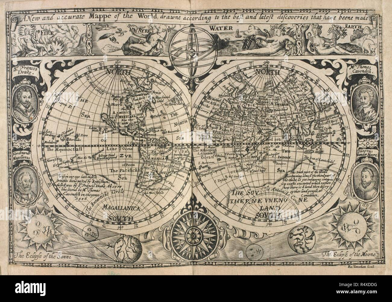 A New And Accurate Map Of The World 1628.Mappe Of The World Drawn In 1628 A New And Accurate Mappe Of The