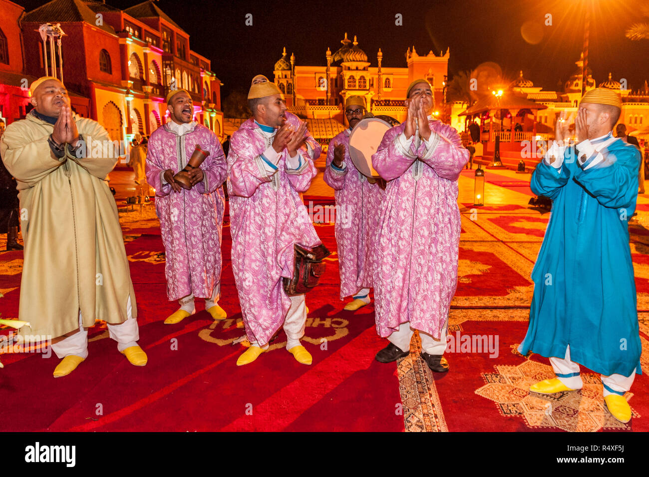 26-02-15, Marrakech, Morocco. Tourist entertainment at the Chez Ali Fantasia show. Guests are entertained by the songs and dances of folk groups, a be - Stock Image