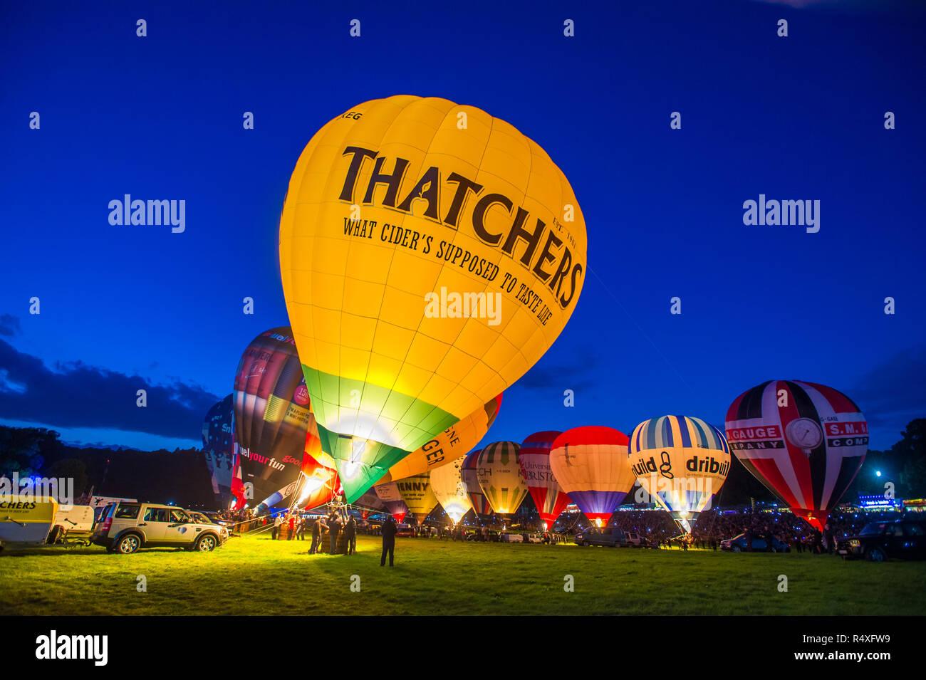 The Night Glow, Bristol Balloon Fiesta, 2017 - Stock Image