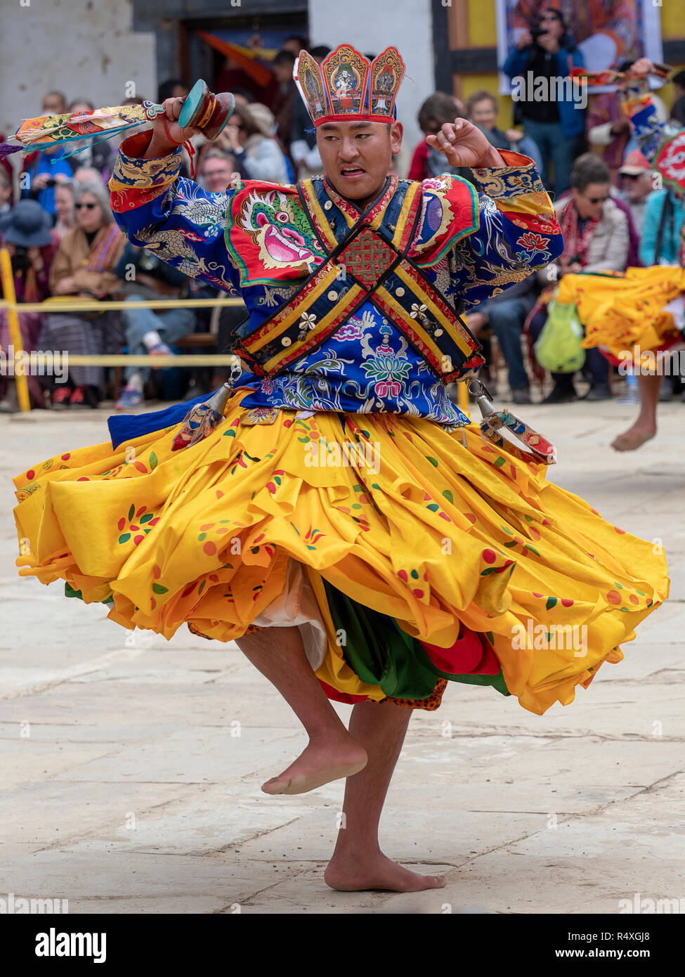 Dancers at the Black-Necked Crane Festival in Gangtey, Bhutan - Stock Image
