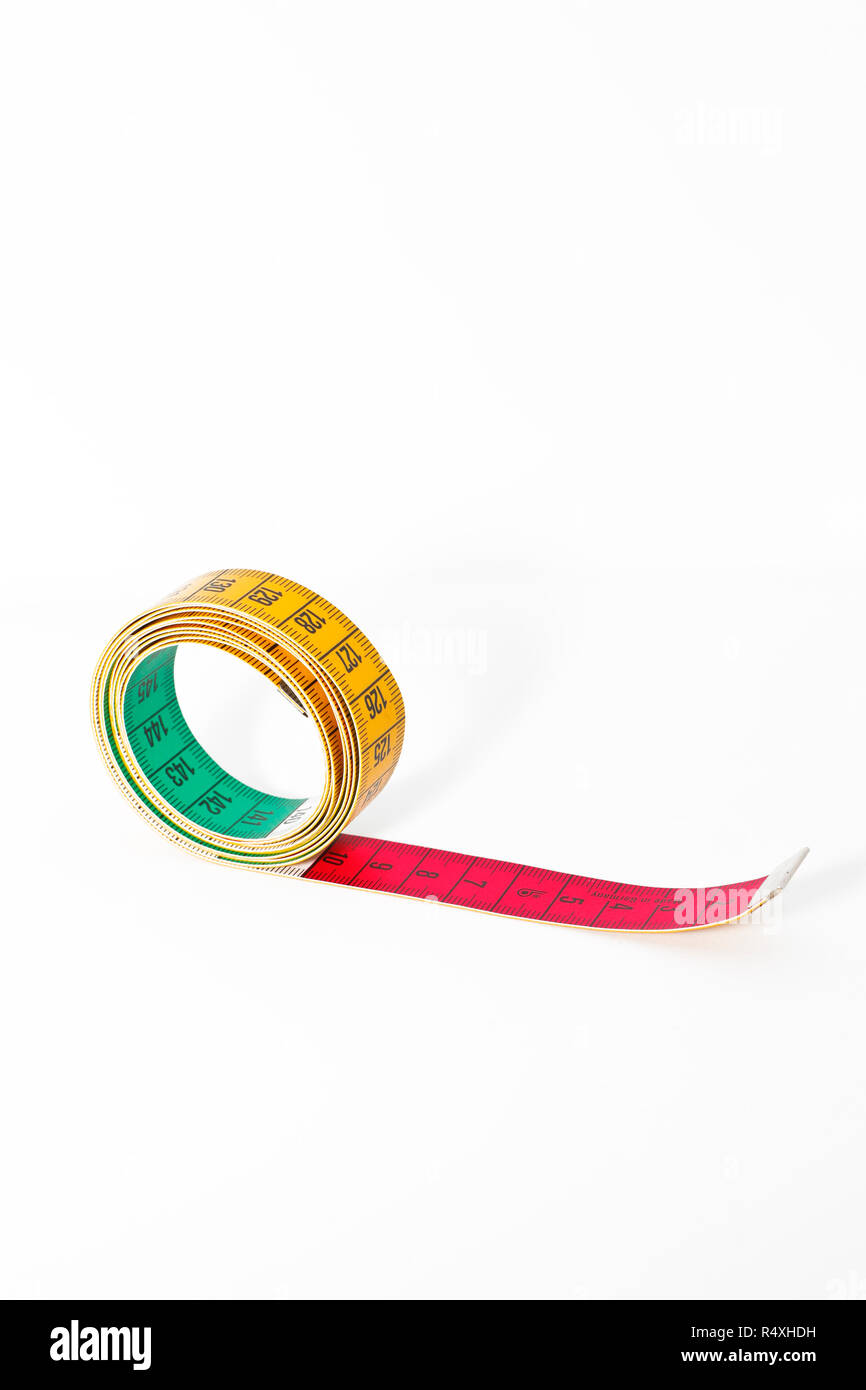 Close up of tape measure isolated on white background Stock Photo