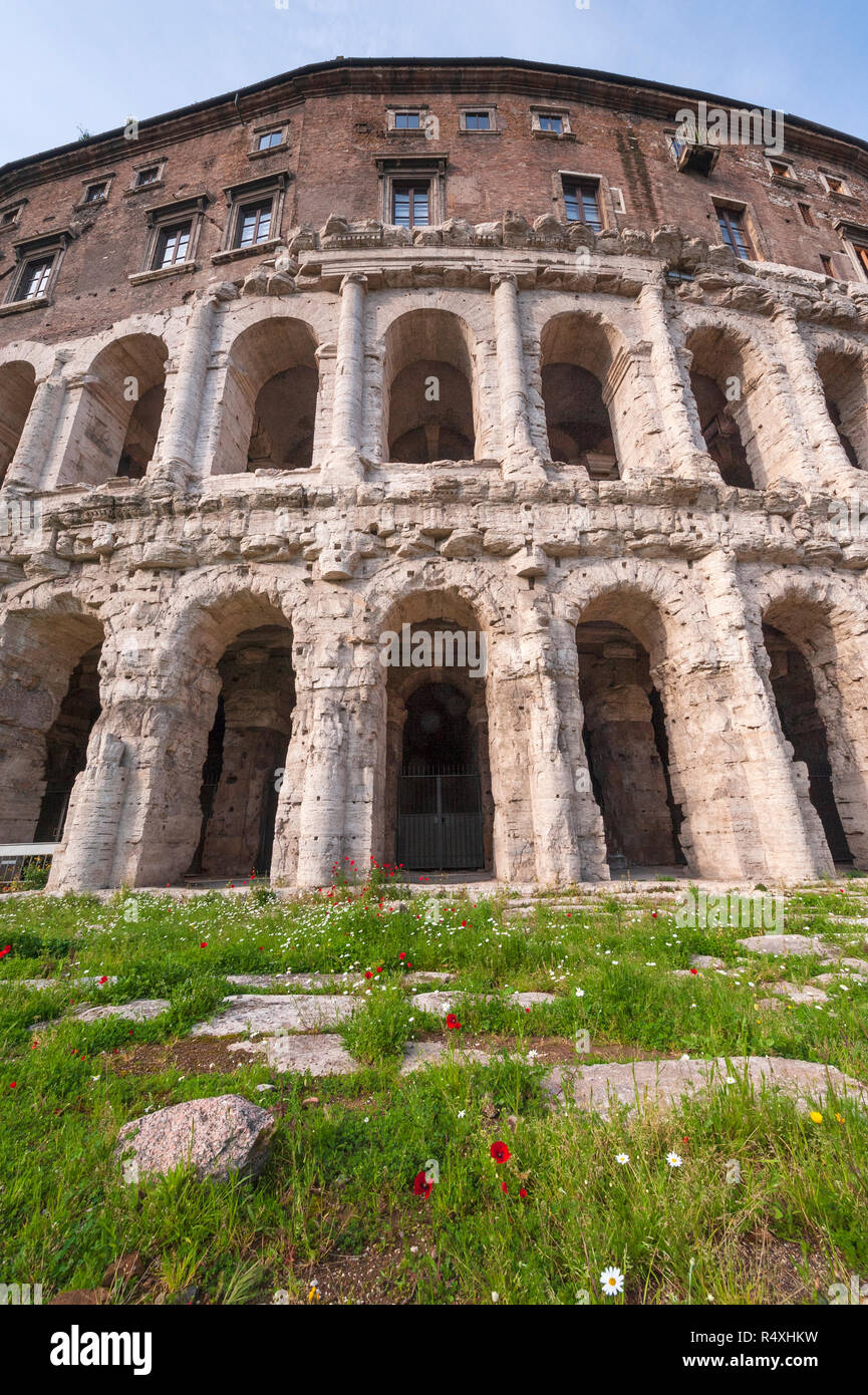 Roman architecture architectural detail of the Theatre of Marcellus in the Campus Martius in Rome - Stock Image