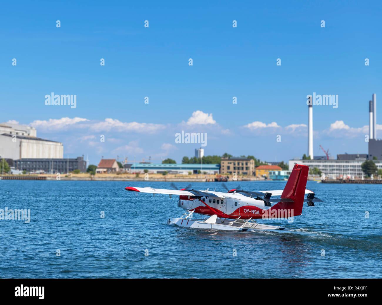 A Twin Otter DHC-6-300 seaplane taxiing off the Langelinie promenade, Copenhagen, Denmark - Stock Image