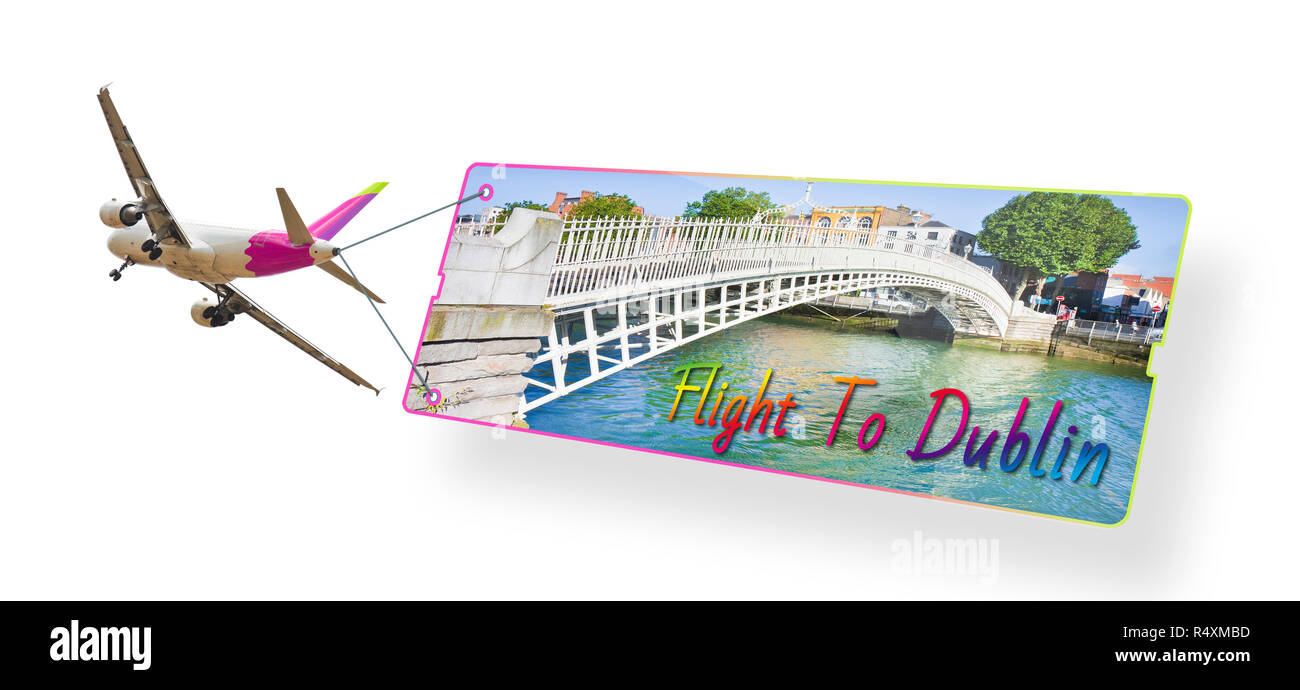 Plane towing a signboard whit image of Dublin (Ireland) - Imaginary graphic on the fuselage - Stock Image