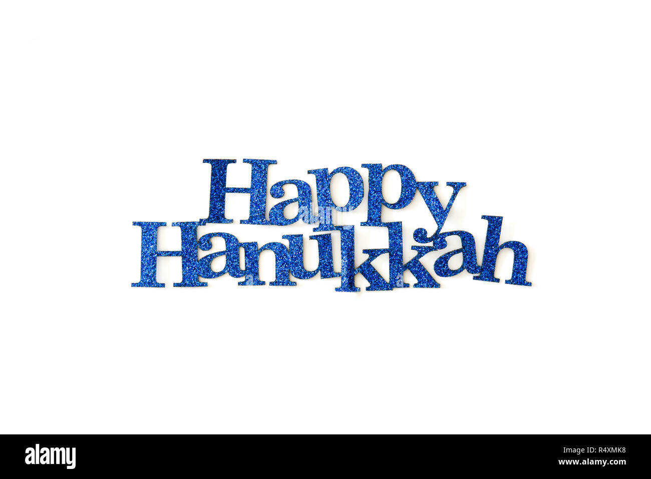 Happy Hanukkah written with blue word isolated in white background - Stock Image