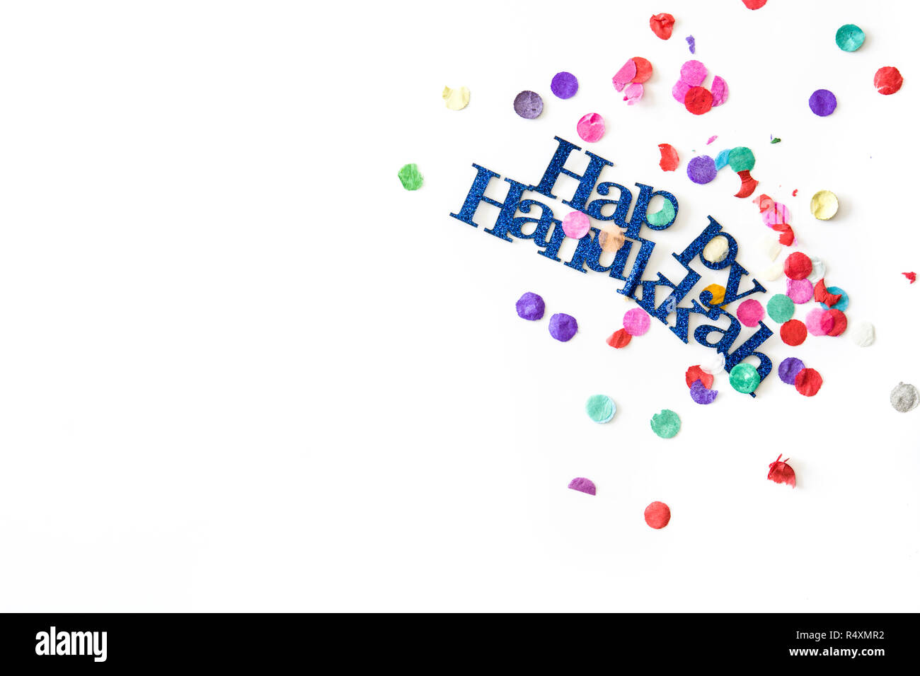 Happy Hanukkah and confetti background. Copyspace - Stock Image