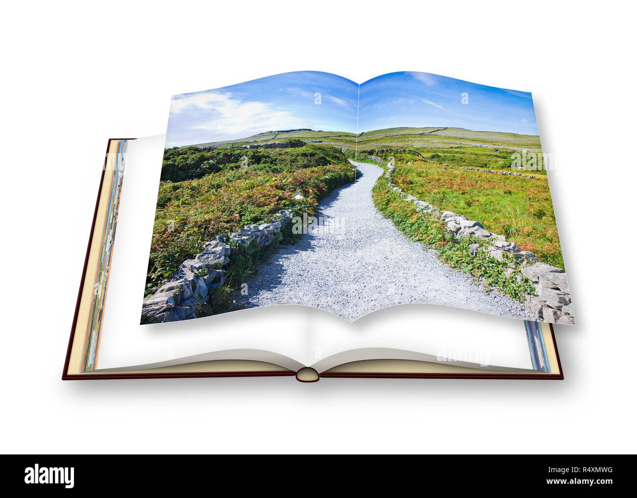 Photo album about a typical Irish flat landscape in Aran Island with country road, stone walls and fields of grass - Stock Image