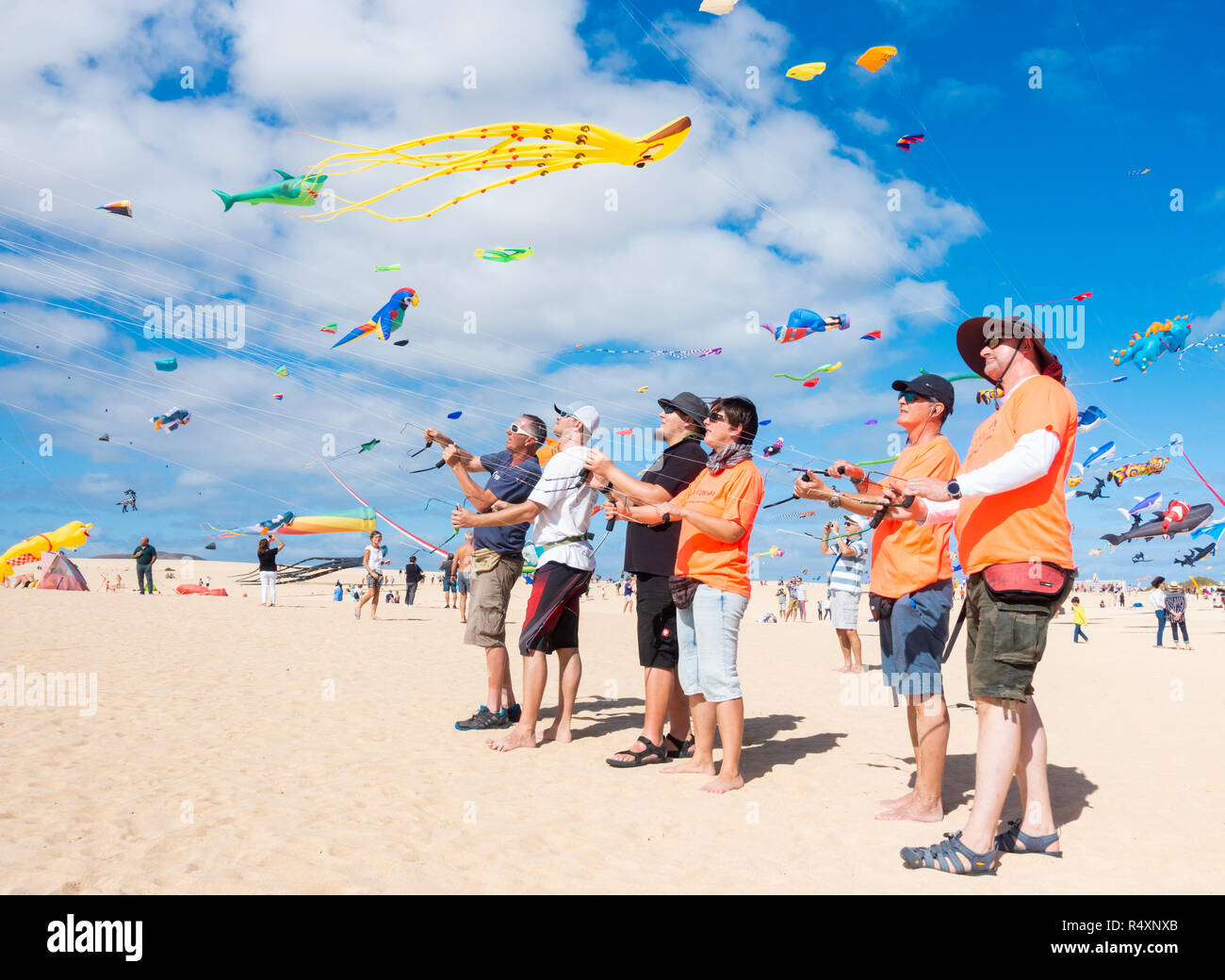 Flying kites at 2018 Fuerteventura international kite festival. Fuerteventura, Canary Islands, Spain - Stock Image