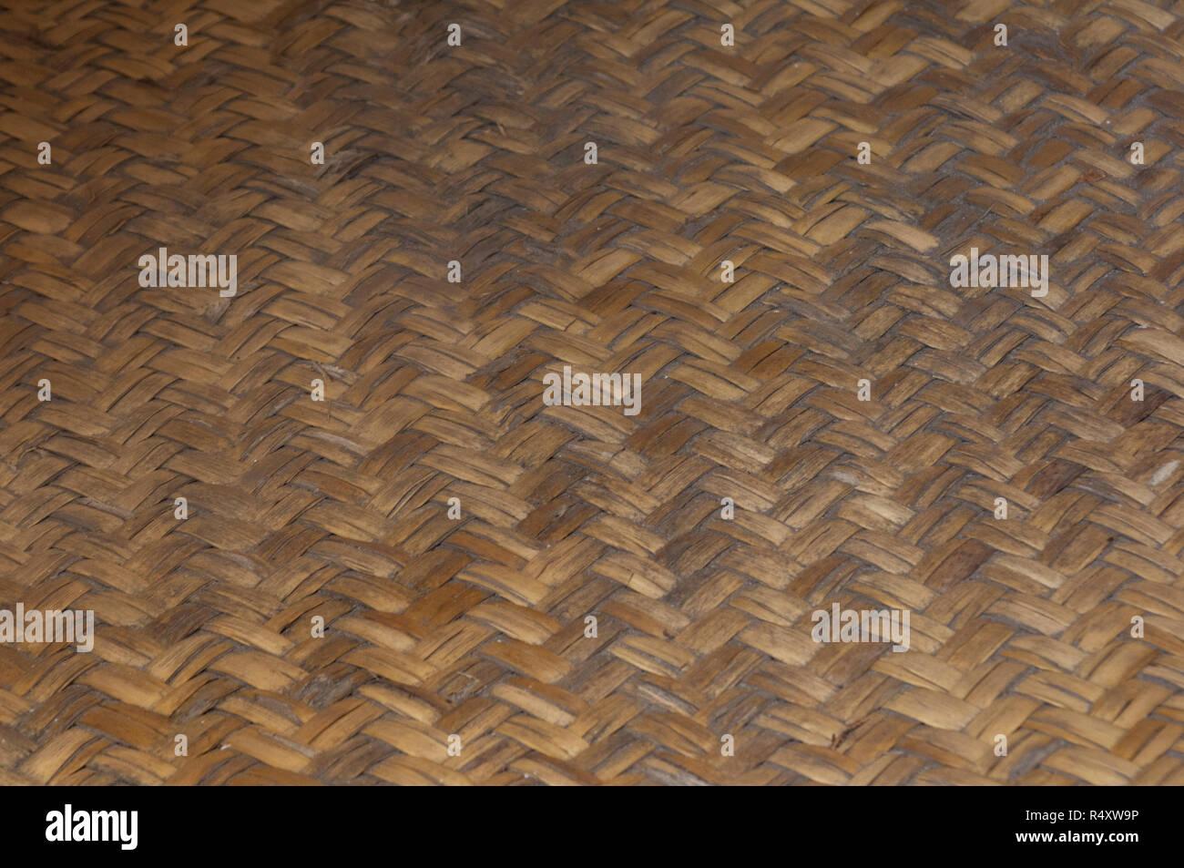 Chumash woven floor mat (reconstruction), La Purisima Mission State Historic Park, California. Digital photograph - Stock Image