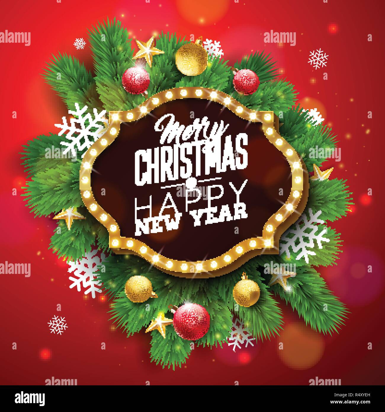 Christmas Board Design.Merry Christmas And Happy New Year Illustration With Light