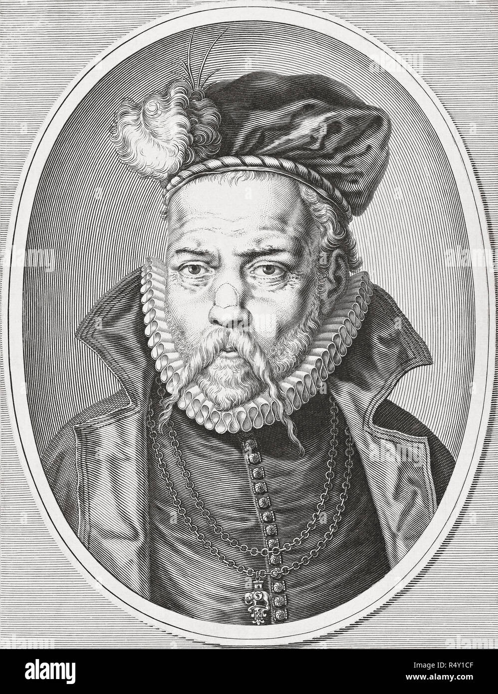 Tycho Brahe, born Tyge Ottesen Brahe, 1546 – 1601. Danish nobleman and astronomer.  After a 17th century engraving by Jeremias Falck. - Stock Image