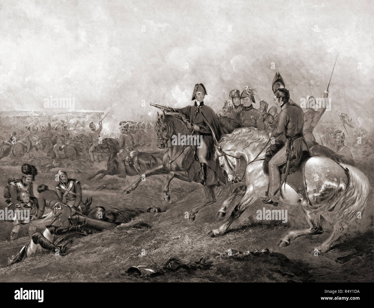 Wellington at Waterloo, June 18, 1815.  Engraving by Frederick Bromley after a work by Abraham Cooper. - Stock Image