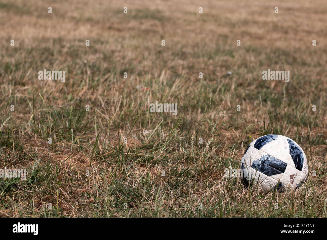 Lost football during summer 2018 - Stock Image