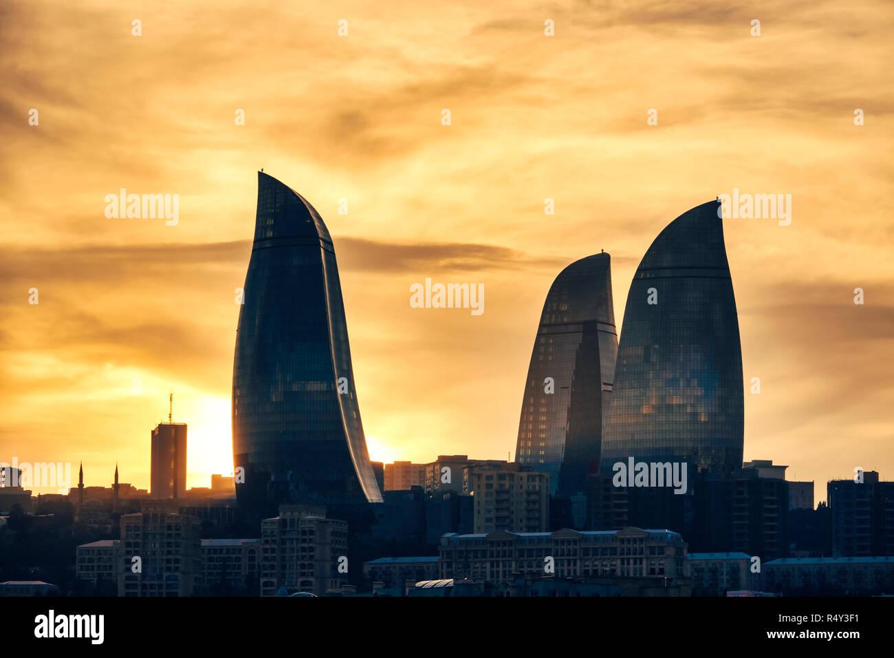 Sunset view of Flame Towers , Baku, Azerbaijan - Stock Image