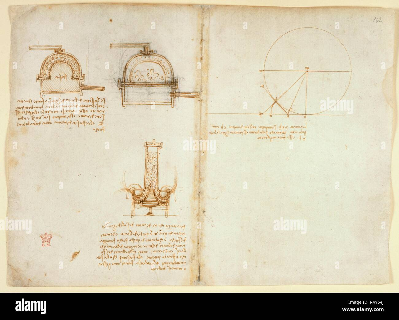 Drawings By Leonardo Da Vinici On The Mechanical Powers And Diagrams Of Forces Percussion Gravity Motion Optics Astronomy With Various Arithmetical