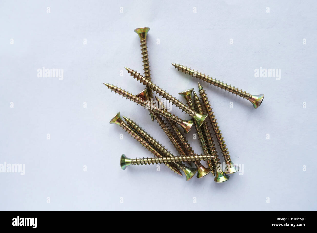 Self tapping screws isolated against white background - Stock Image