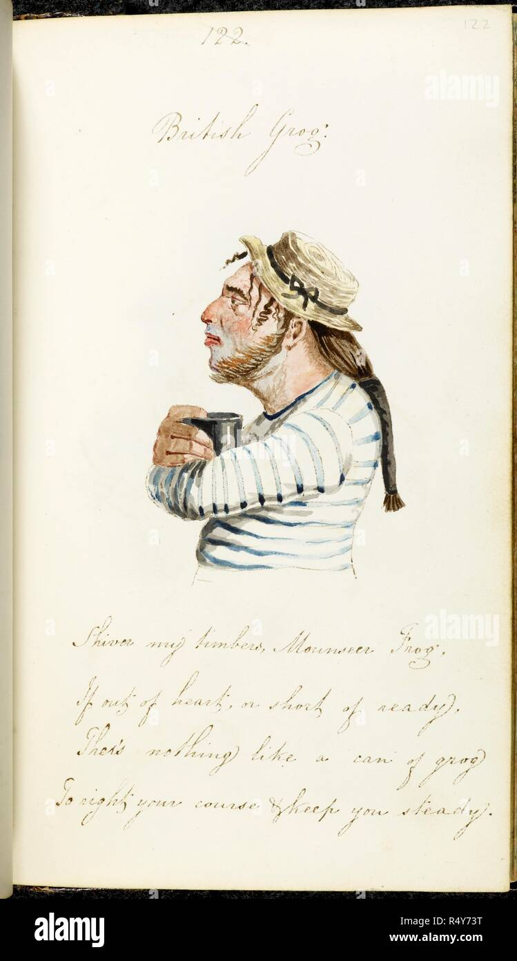 British Grog A Watercolour Sketch Of A Sailor With Ponytail