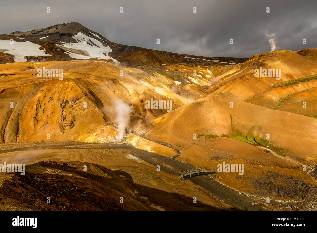 The rock formations and volcanic thermal fissures in the Jokulgil Canyon area of Iceland. - Stock Image
