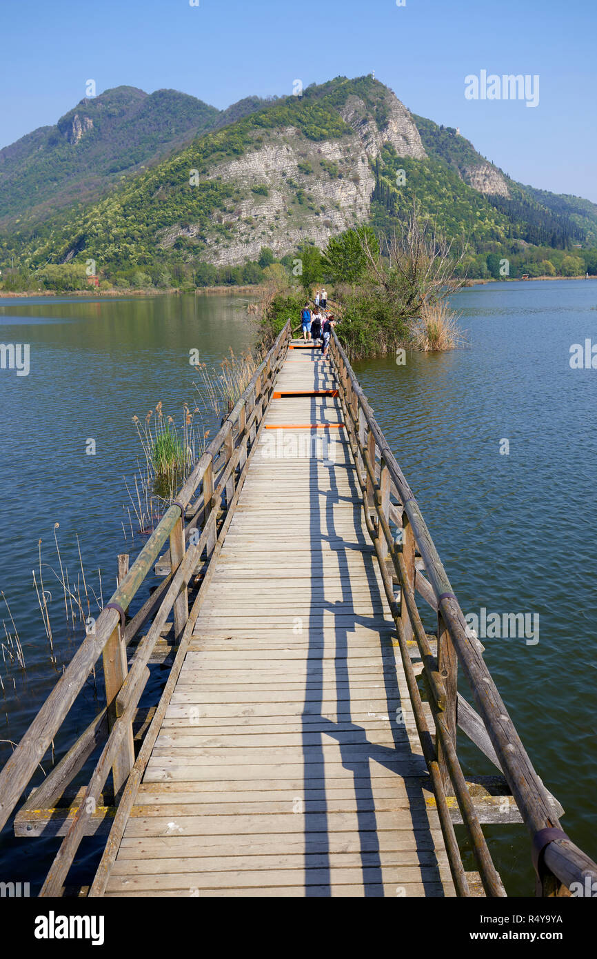 Wooden foot bridge at Sebino Peat-Bog Nature Reserve, in the south of Lake d'Iseo, province of Brescia, Italy - Stock Image