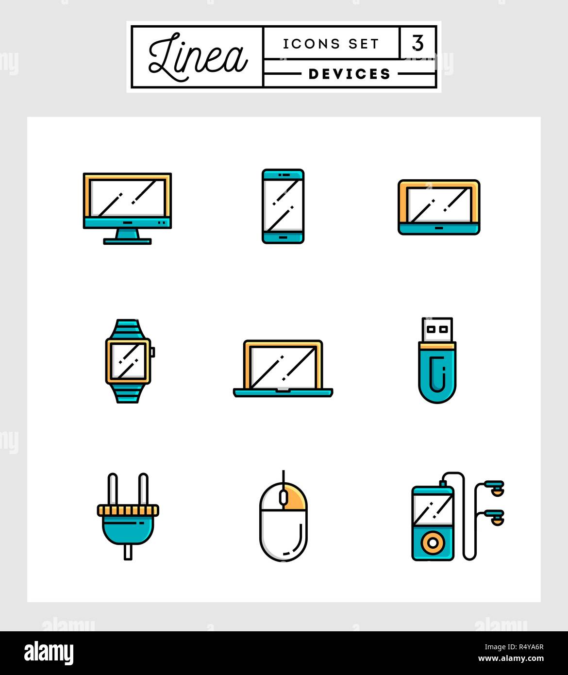 set of flat design line icons of devices Stock Vector Art