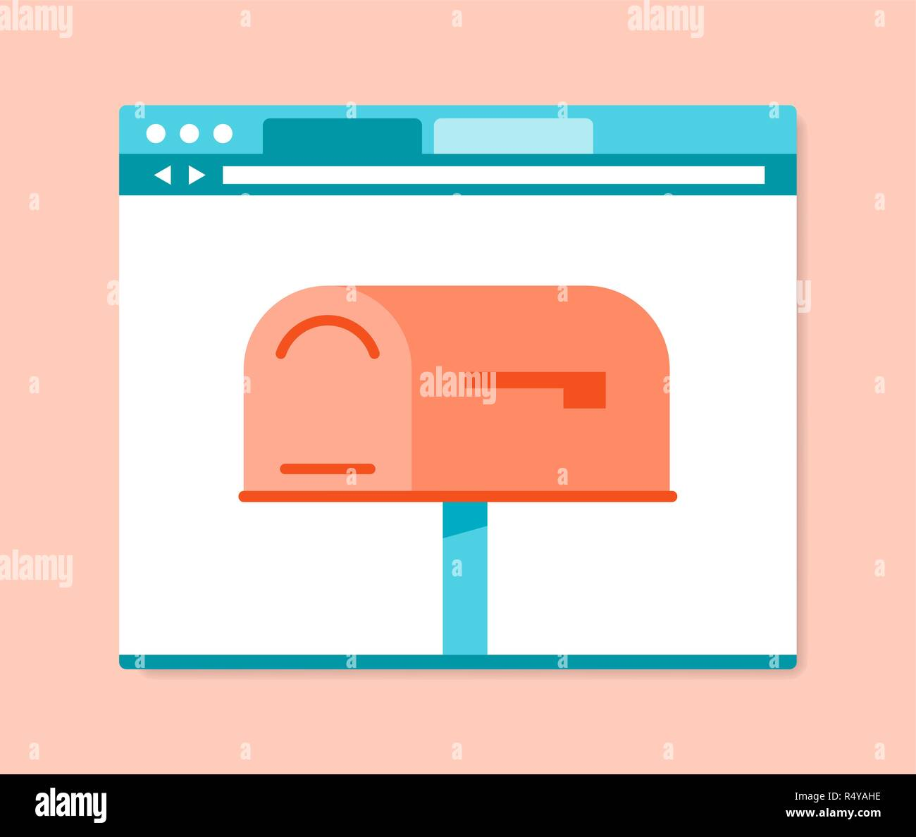 Flat design style mailbox in internet browser - Stock Image