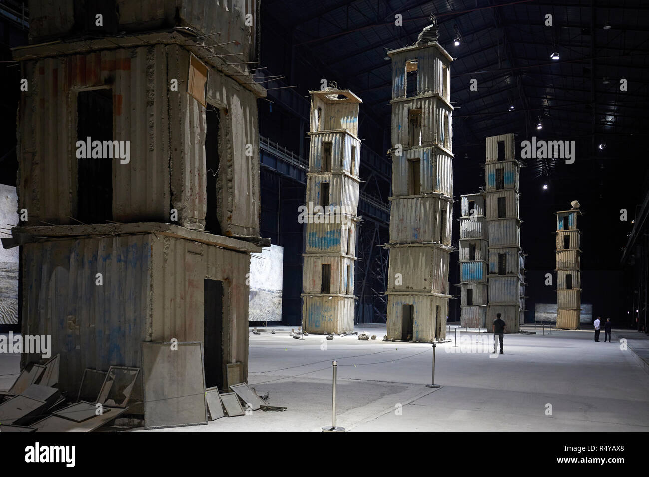 The Seven Heavenly Palaces by Anselm Kiefer at the Art exposure at Pirelli Hangar Bicocca in Milan, Italy Stock Photo