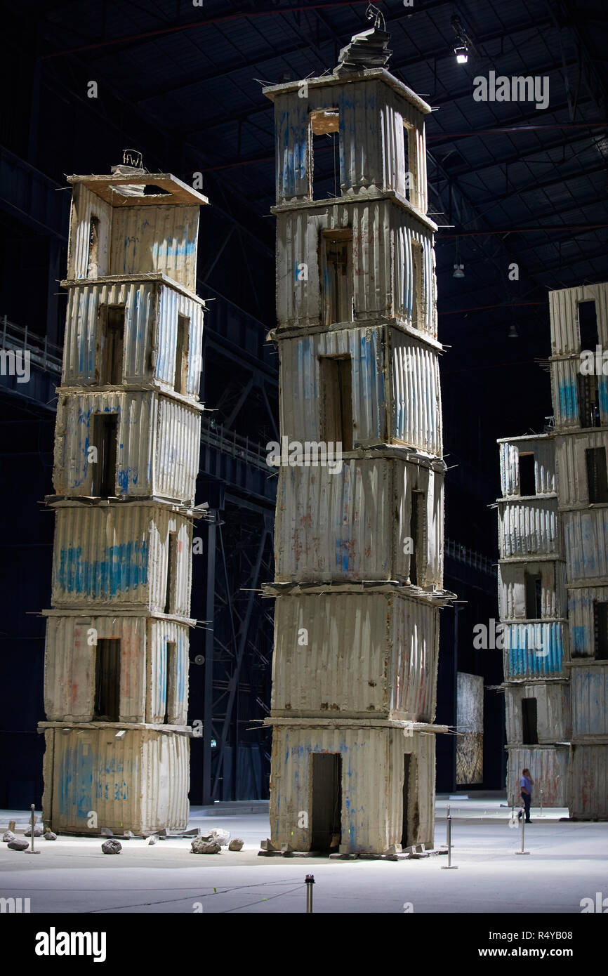 The Seven Heavenly Palaces by Anselm Kiefer at the Art exposure at Pirelli Hangar Bicocca in Milan, Italy - Stock Image