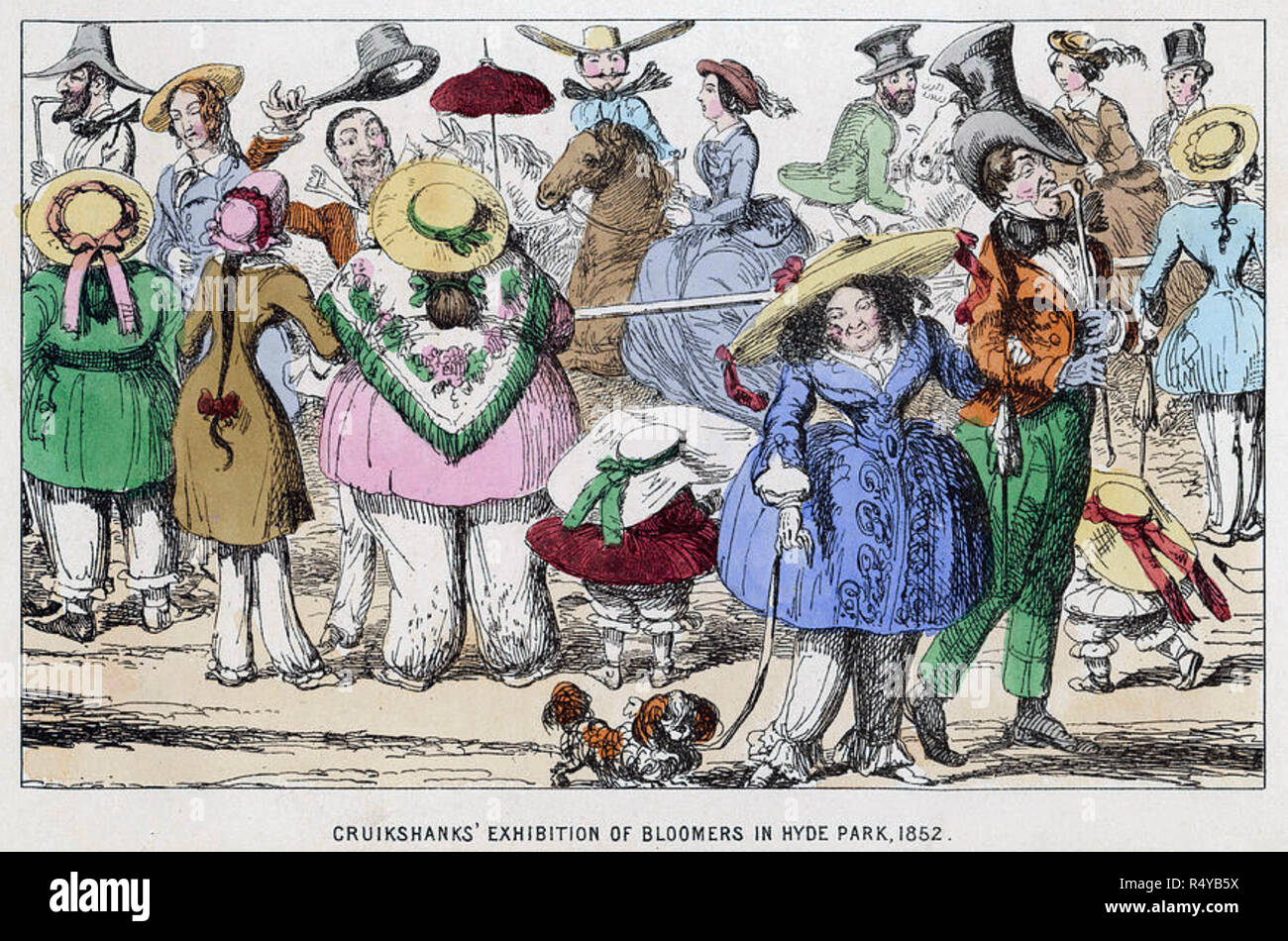 GEORGE CRUIKSHANK (1792-1878) English caracaturist. 'Exhibition of Bloomers in  Hyde Park 1852' - Stock Image