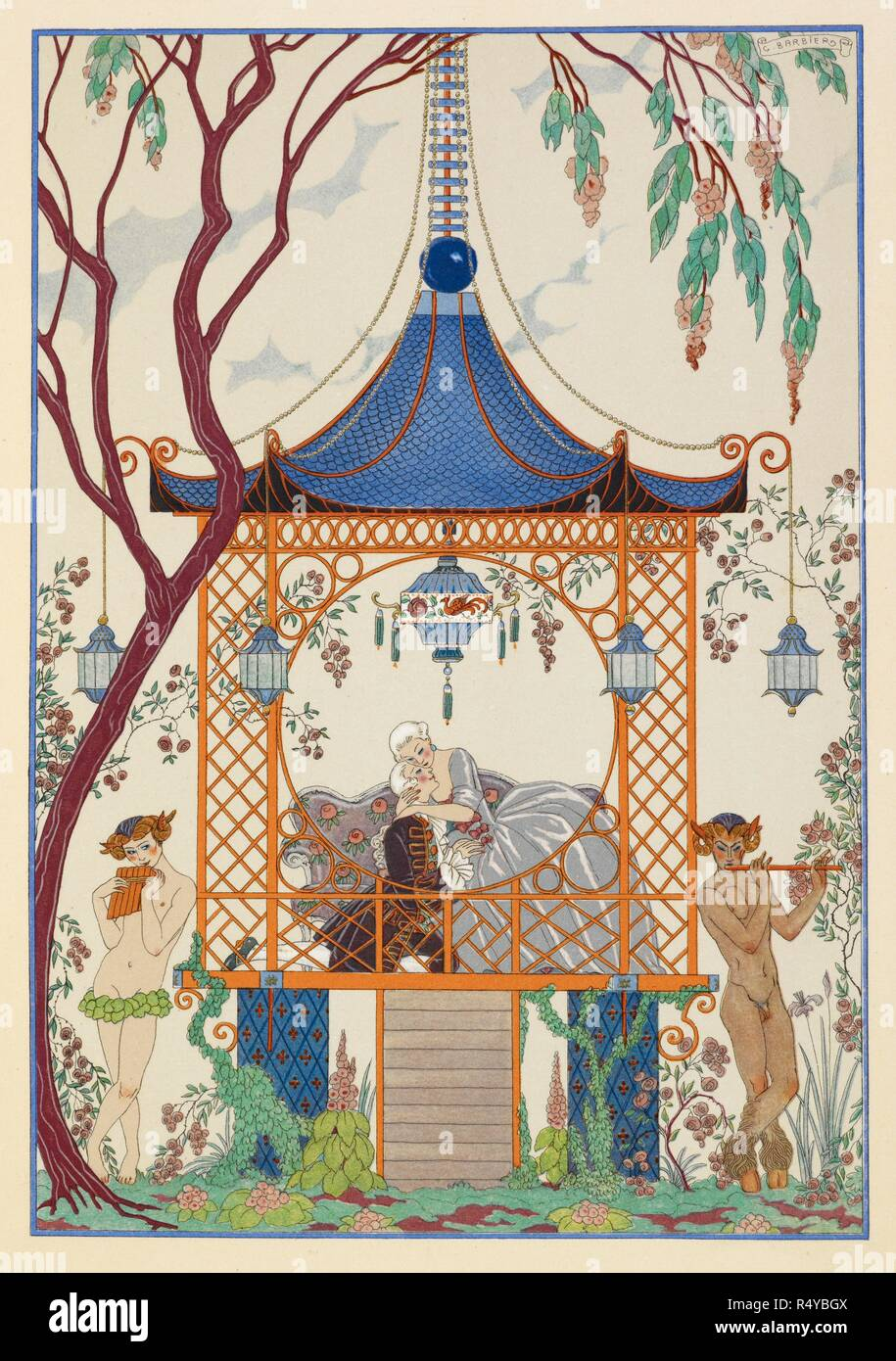 Cythère. A man and woman in a pavillion, embracing. Mythical creatures outside, playing pipes. Fêtes galantes. [Poèmes]. Illustrations de George Barbier. Paris: H. Piazza, 1928. Fêtes Galantes is an album consisting of romantic prints of French life among the upper classes of the 19th century. Rich aristocrats of the French court used to play gallant scenes from the commedia dell' arte that were called Fetes Galantes. The prints accompany Paul Verlaine's poetry. Each album contains 20 lithograph prints with pochoir highlighting by George Barbier. Source: L.45/2847, before page 51. Langua - Stock Image