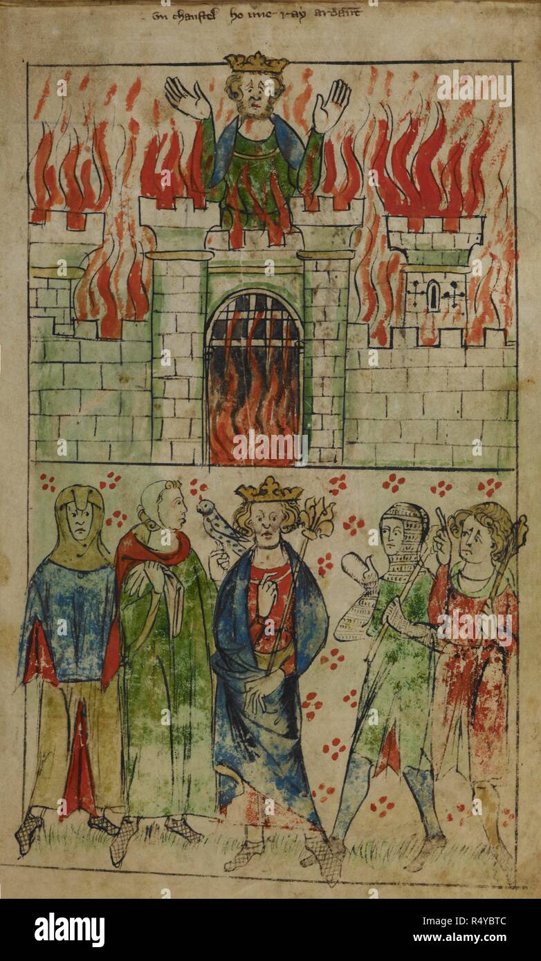 [Whole folio] Vortigern burning to death in his tower. Below; king standing with sceptre, and four courtiers; two in chain mail, one with a hawk. Chronicle of England. England; circa 1307-1327. Source: Royal 20 A. II, f.3. Language: French. Author: Langtoft, Peter de. - Stock Image