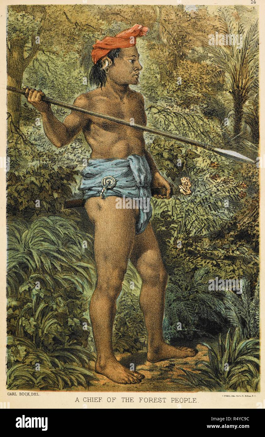 A chief of the forest people (Orang Poonan). He wears a headdress and tjawat, or waist-cloth. He carries a spear. The head-hunters of Borneo : a narrative of travel up the Mahakkam and down the Barito : also journeyings in Sumatra. London : Sampson Low, Marston, Searle & Rivington, 1881. Colour illustration. Source: V10009, plate 24 opposite page 62. Language: English. Author: Bock, Carl. - Stock Image
