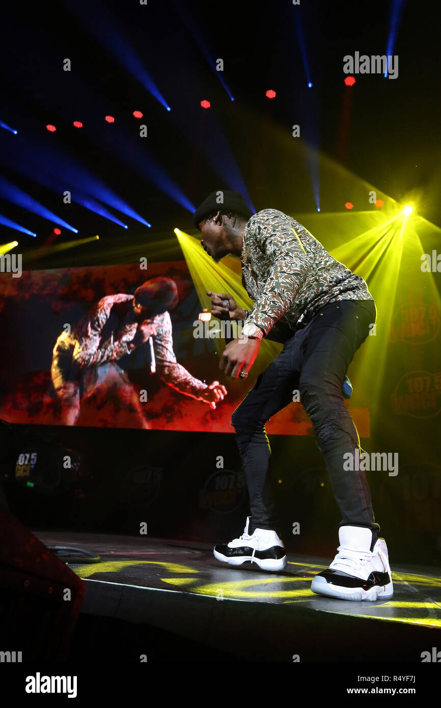 Chicago, Illinois, USA. 25th Nov, 2018. Rapper FLIPP DINERO (CHRISTOPHER SAINT VICTOR) during the WGCI Big Jam at the United Center in Chicago, Illinois Credit: Daniel DeSlover/ZUMA Wire/Alamy Live News - Stock Image