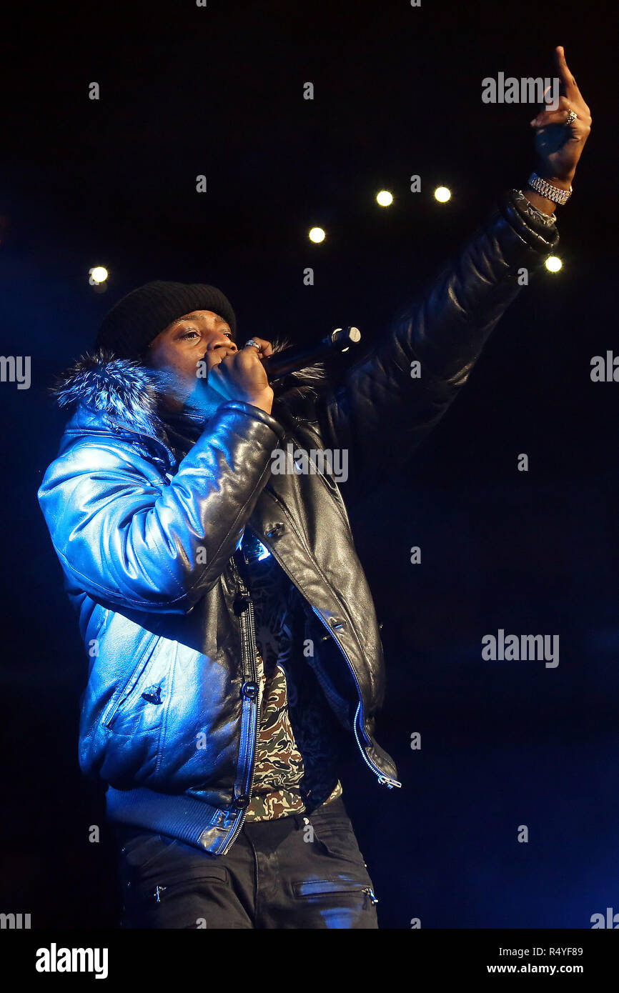 Chicago, Illinois, USA. 24th Nov, 2018. Rapper FLIPP DINERO (CHRISTOPHER SAINT VICTOR) during the WGCI Big Jam at the United Center in Chicago, Illinois Credit: Daniel DeSlover/ZUMA Wire/Alamy Live News - Stock Image
