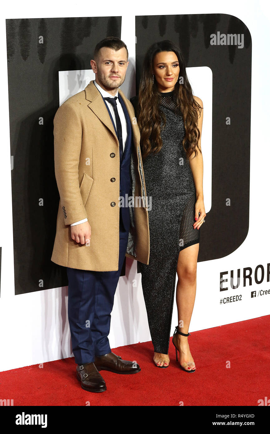 London, UK. 28th November, 2018. Jack Wilshere, Andriani Michael, Creed II - European Premiere, BFI IMAX, London, UK, 28 November 2018, Photo by Richard Goldschmidt Credit: Rich Gold/Alamy Live News - Stock Image