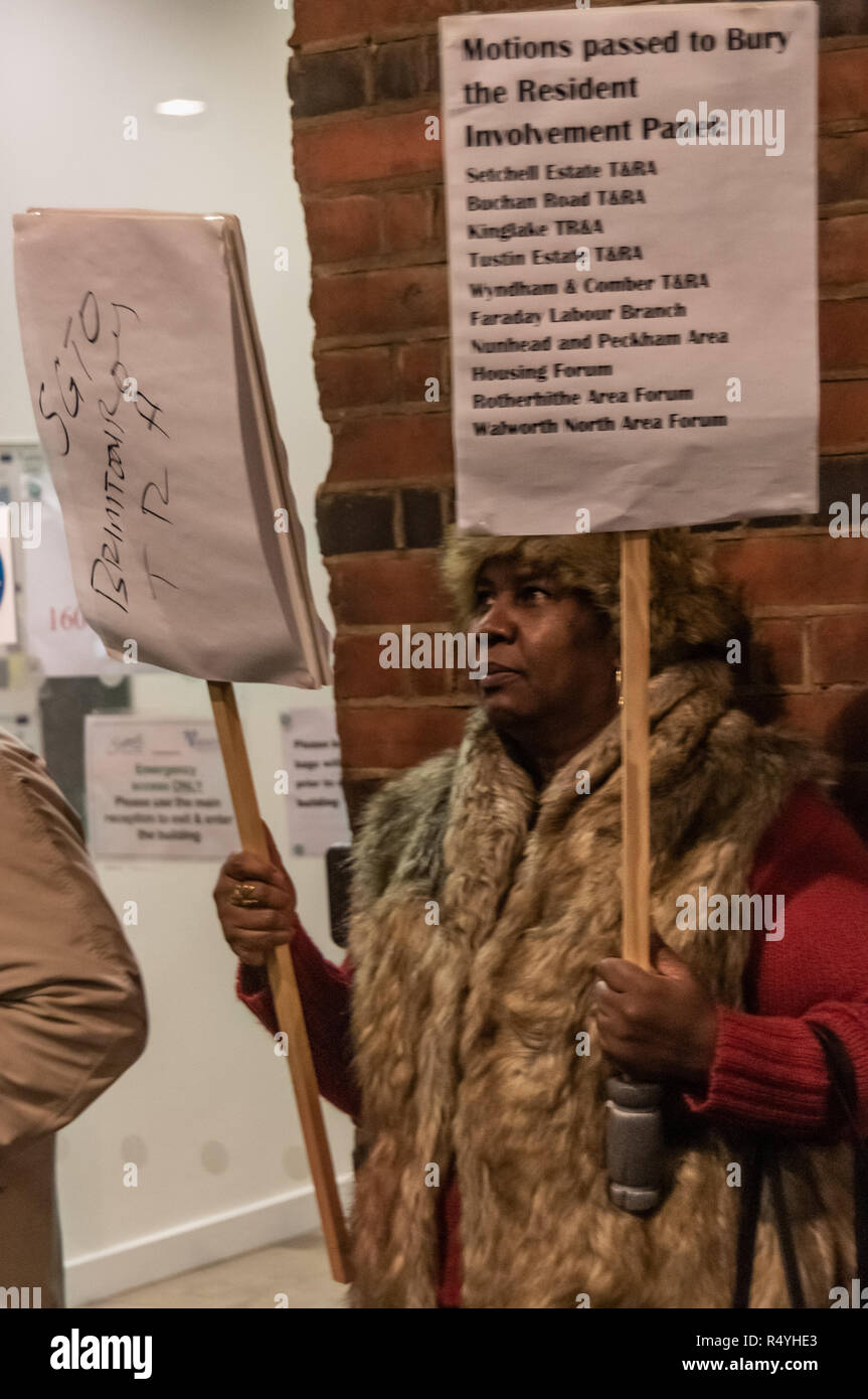 London, UK. 28th November 2018. Southwark council estate residents lobby councillors going in to a council meeting. They call for and end to council estate demolitions and the social and ethnic cleansing of the borough and want on the council to work with residents who it is increasingly disempowering and refusing to listen to. Among the protesters were some from the Aylesbury estate, already part demolished despite a majority ballot calling for refurbishment rather than demolition. Credit: Peter Marshall/Alamy Live News Stock Photo