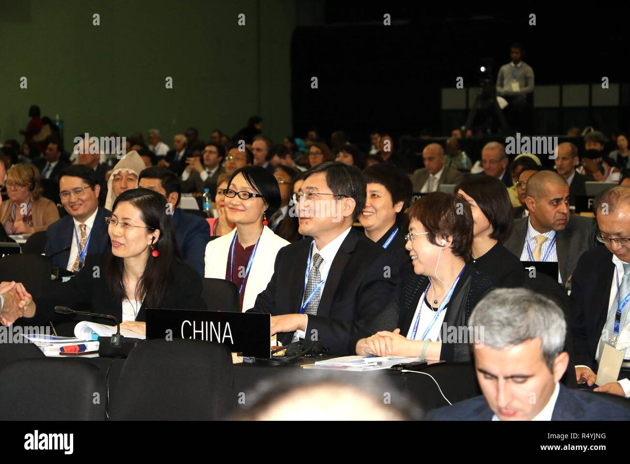 Port Louis, Mauritius. 28th Nov, 2018. Chinese Vice Minister of Culture and Tourism Zhang Xu (C) attends the 13th session of the UNESCO Intergovernmental Committee for the Safeguarding of the Intangible Cultural Heritage in Port Louis, Mauritius, Nov. 28, 2018. The United Nations Educational, Scientific and Cultural Organization (UNESCO) inscribed on Wednesday China's Lum medicinal bathing of Sowa Rigpa on the Representative List of the Intangible Cultural Heritage of Humanity. Credit: Brahms/Xinhua/Alamy Live News - Stock Image
