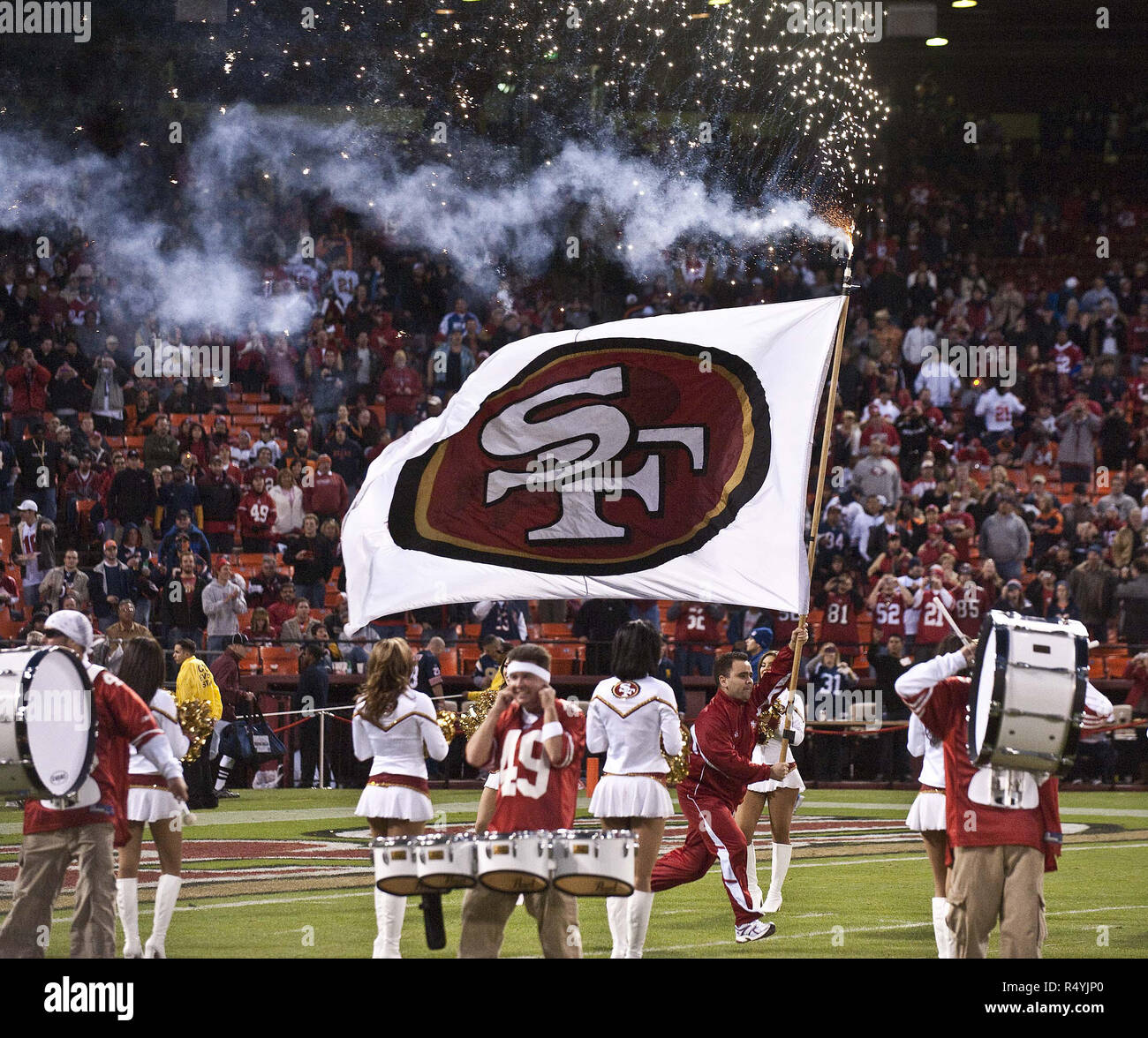 San Francisco, California, USA. 12th Nov, 2009. Opening ceremonies opened with a bang on Thursday, November 12, 2009 at Candlestick Park, San Francisco, California. The 49ers defeated the Bears 10-6. Credit: Al Golub/ZUMA Wire/Alamy Live News - Stock Image