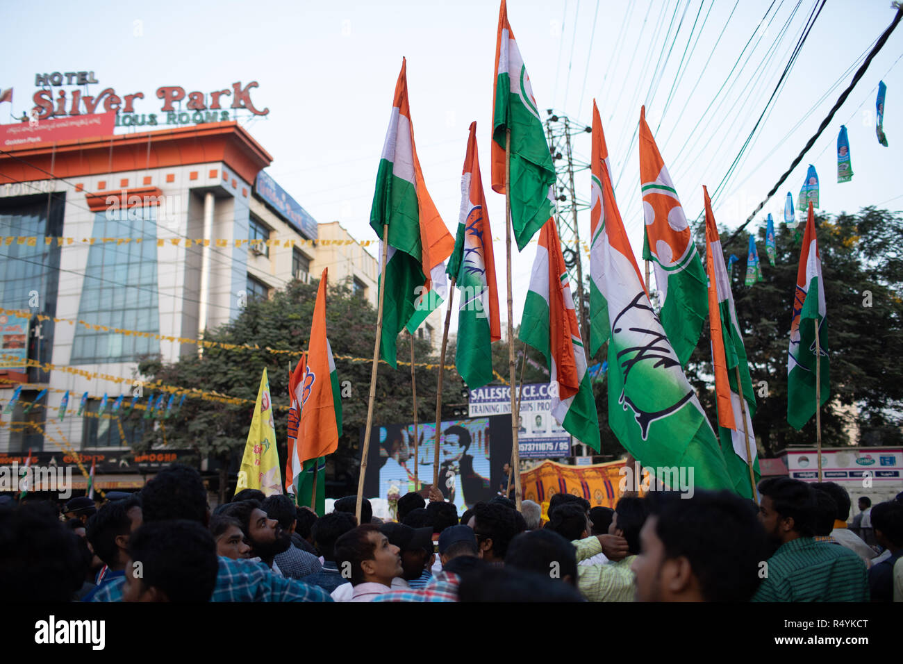 Hyderabad,India.28th November,2018. Supporters of Indian National Congress hold party flag during a road show of Andhra Pradesh Chief Minister N Chandrababu Naidu and Congress President Rahul Gandhi in Hyderabad,India for the forthcoming Telangana Legislative Assembly elections to be held on 07 December,2018.Credit: Sanjay Borra/Alamy Live News - Stock Image
