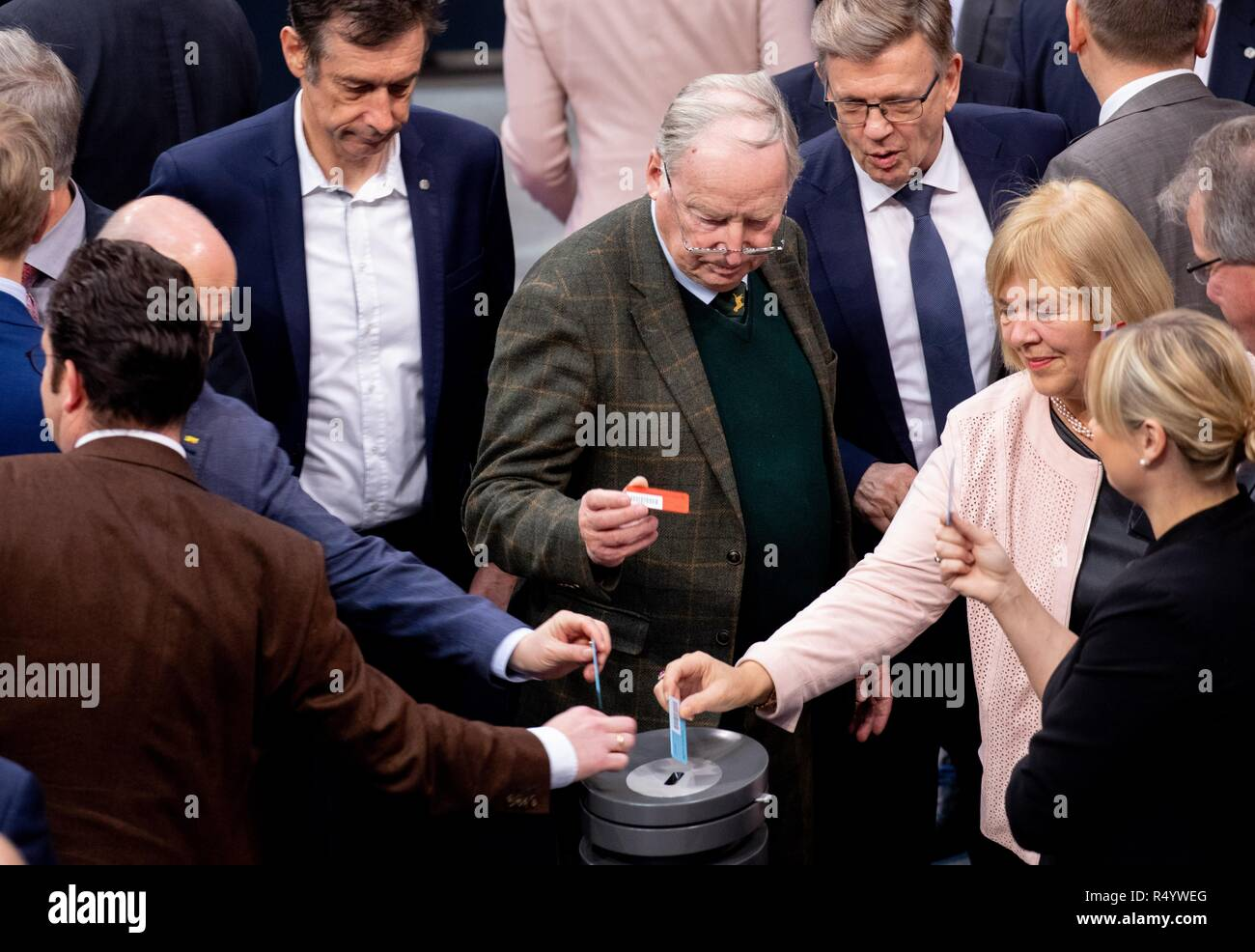 Berlin, Germany. 29th Nov, 2018. Alexander Gauland, leader of the AfD parliamentary group, takes part in the Bundestag's roll-call vote on the amendment to the Basic Law for school digitisation. Credit: Kay Nietfeld/dpa/Alamy Live News Stock Photo