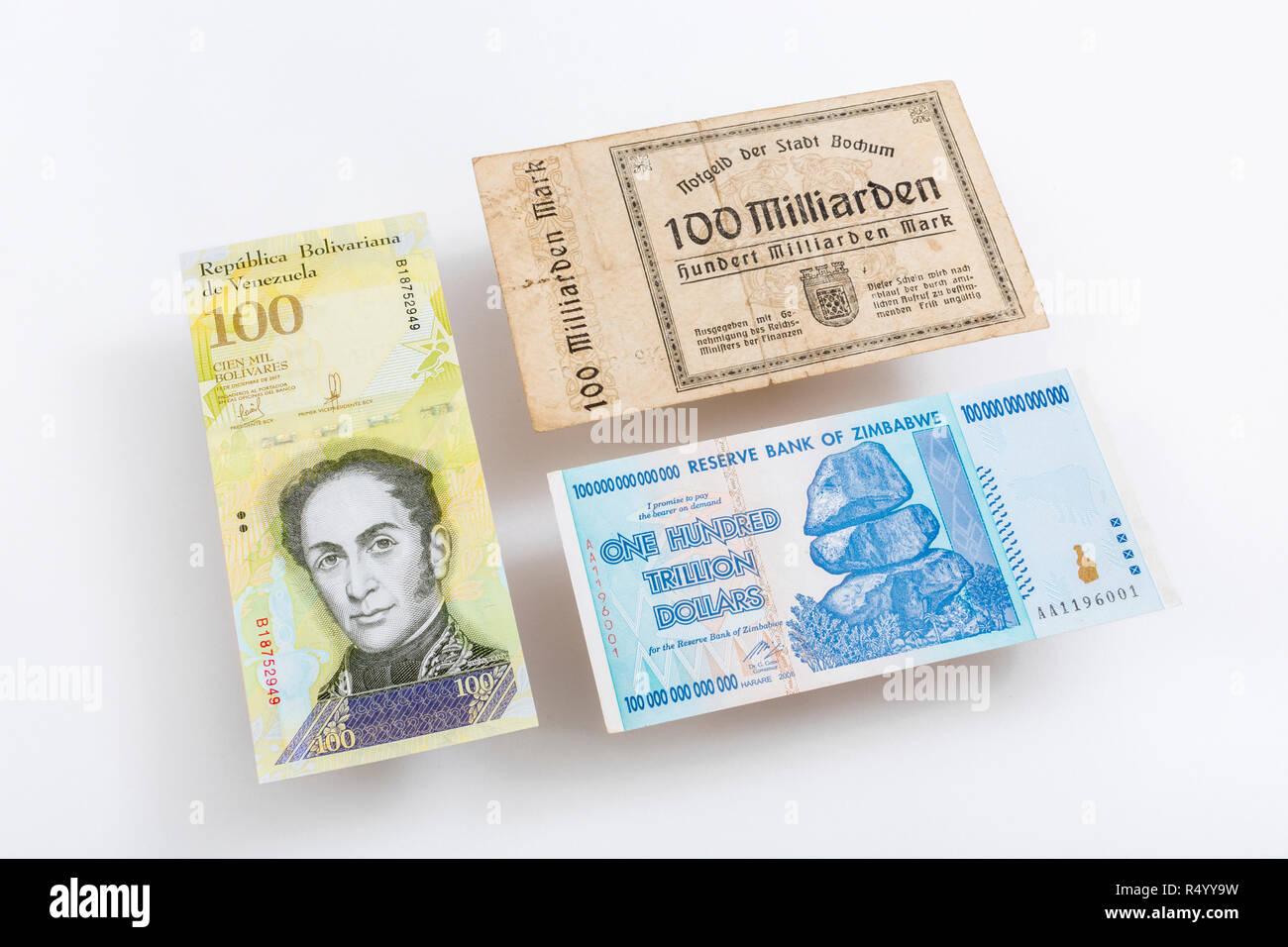 5 Million German Marks 1923 Banknote 1 Million Zimbabwe Dollars 2008 Currency